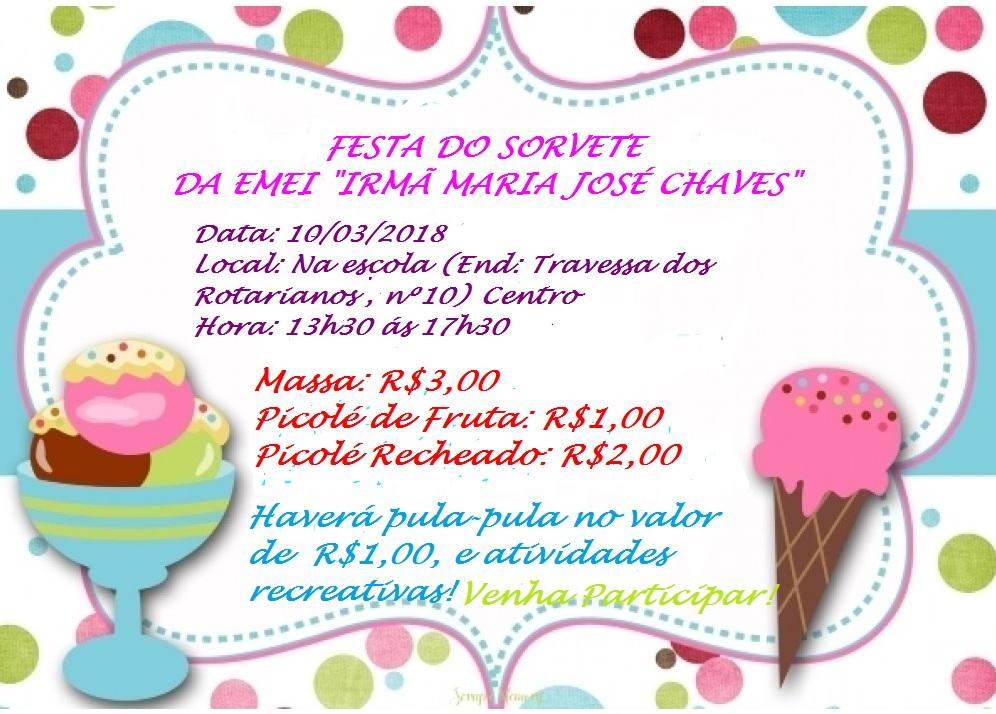 Festa do Sorvete da EMEI Irmã Maria José Chaves