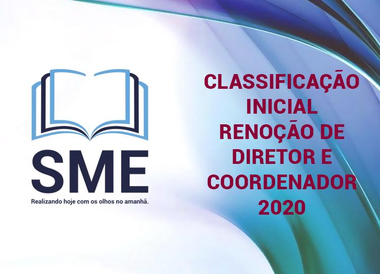 Classificação inicial renoção de diretor e coordenador 2020