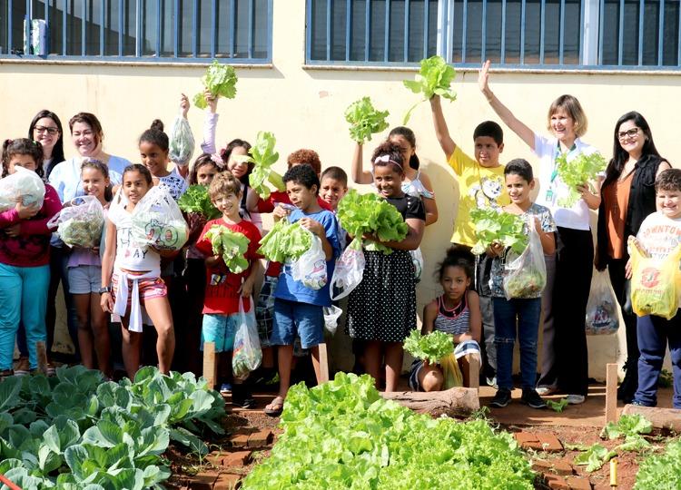 Alunos recebem verduras do Projeto Escola Comunidade da Unimed Assis