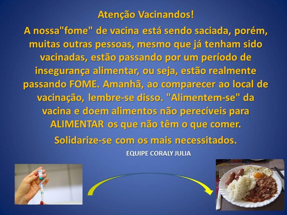 Campanha Vacina contra a fome: Profissional da educação, faça sua doação!