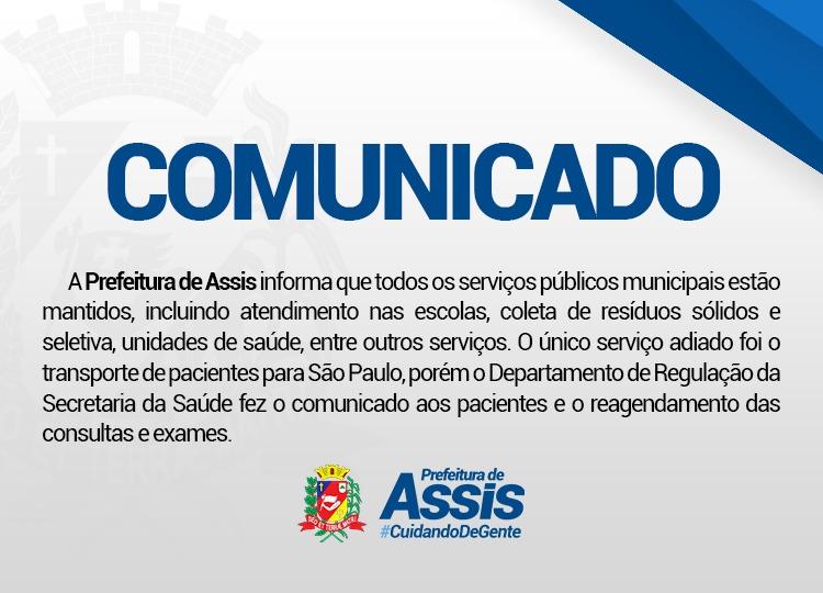 COMUNICADO PREFEITURA MUNICIPAL DE ASSIS