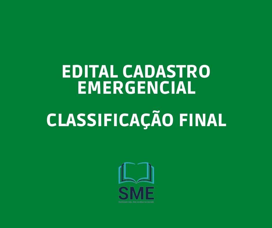 Classificação Final  - Cadastro Emergencial