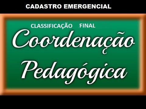 CADASTRO EMERGENCIAL INTERNO Classe de Suporte Pedagógico – Coordenador Pedagógico CLASSIFICAÇÃO FINAL